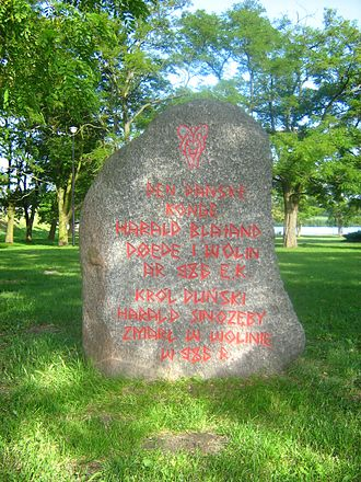 Jomsborg - Modern memorial in Wolin, the most probable site of medieval Jomsborg. The Danish and Polish inscription, held in rune style, commemorates the death of Harald Bluetooth in Jomsborg, 986.