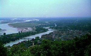Haridwar - Meandering main Ganga river, known here as Neel Dhara (left) and the Ganga canal (right), passing through Haridwar