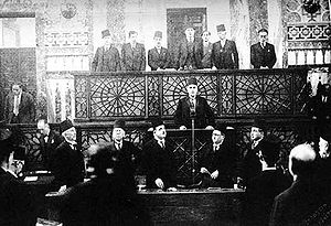 Hashim al-Atassi - The presidential inauguration of Hashim al-Atassi, seen here delivering his speech, in Parliament on 31 December 1936.