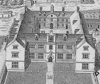 Heanton Satchville, Petrockstowe - Heanton Satchville depicted in 1739, then the home of Margaret Rolle, 15th Baroness Clinton; detail from Vitruvius Britannicus
