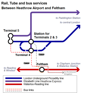 Feltham railway station - Map of Heathrow rail links