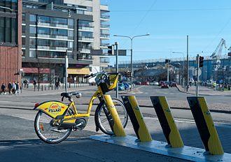 Helsinki City Bikes - Helsinki City Bike in hub at Hietalahdentori