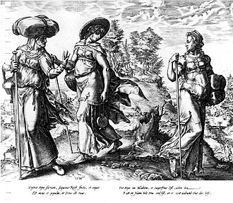 Orpah - Orpah (right) leaving Ruth and Naomi. Engraving by Hendrik Goltzius, 1576.