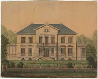 Belvedere, Gentofte Municipality - Drawing of the house by Henrik Steffens Sibbern from 1870