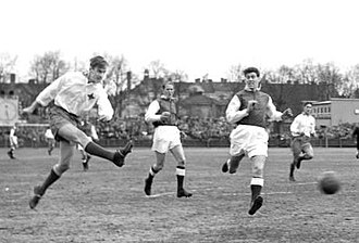 Sandvikens IF - Sandviken playing a 1956–57 Allsvenskan game at home against IFK Norrköping.