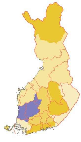 Satakunta (historical province) - Historical province of Satakunta (borders of the modern provinces, i.e. regions with pink colour)
