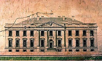 White House - A 1793 elevation by James Hoban. His 3-story, 9-bay original submission was altered into this 2-story, 11-bay design.