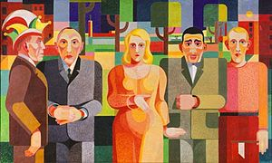 Konrad Adenauer - Heinrich Hoerle: Zeitgenossen (contemporaries). A 1931 modernist painting with mayor Adenauer (in grey) together with artists and a boxer.