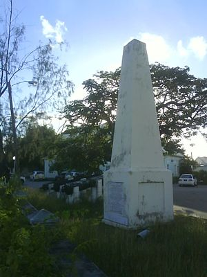 Holetown - The Holetown Monument, commemorating initial English claim and later settlement of Barbados.