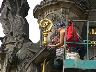 Conservation and restoration of cultural heritage - Revision and conservation of the Holy Trinity Column in Olomouc (Czech Republic) in 2006.