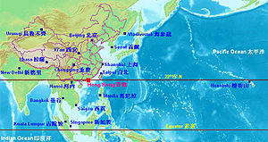 Environment of Hong Kong - The map shows the latitude of Hong Kong compared to the major cities in the rest of China and the Asia Pacific area. It can be seen that the latitude of Hong Kong is the same as that of Honolulu (on the right side of the map).