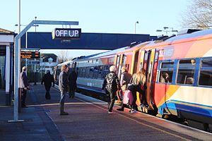 Honiton railway station - Passengers boarding a train at Honiton
