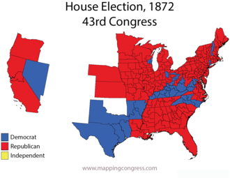 United States House of Representatives elections, 1872 - Map of U.S. House elections results from 1872 elections for 43rd Congress