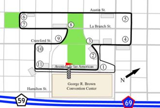 Grand Prix of Houston - The original track layout from 1998-2001.