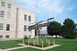 Marshfield, Missouri - A 1/4 scale model of the Hubble Space Telescope located at the courthouse in Marshfield.