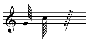 Hundred twenty-eighth note - A hundred twenty-eighth note with stem facing up, a hundred twenty-eighth note with stem facing down, and a hundred twenty-eighth rest.