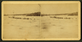 Huts on the ice and men ice fishing, by E. A. Noble.png