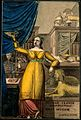 Hygieia, goddess of health, in a scientific cabinet. Coloure Wellcome V0007560.jpg