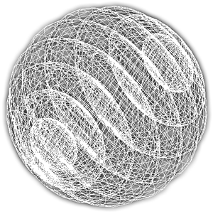 3-sphere - Direct projection of 3-sphere into 3D space and covered with surface grid, showing structure as stack of 3D spheres (2-spheres)