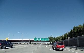 Interstate 84 in Idaho - Looking eastbound on I-84 in Boise, approaching the terminus of I-184