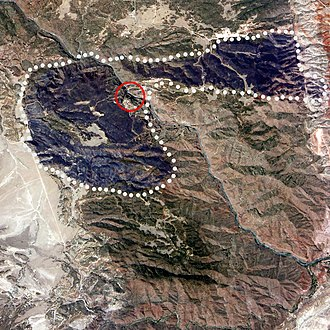 Royal Gorge - ISS image of burn scars with bridge circled in red