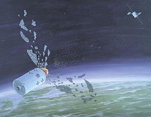 Anti-satellite weapon - 1986 DIA illustration of the IS system attacking a target.