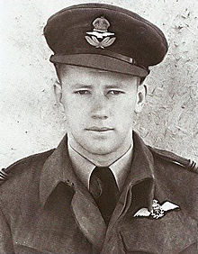 A portrait photograph of a young man in an air force uniform