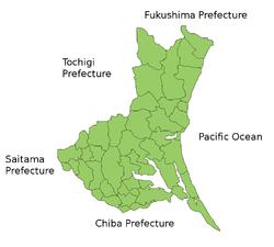Map of Ibaraki Prefecture.