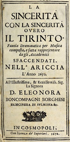 Giovanni Filippo Apolloni - Title page of Apolloni's libretto for Il Tirinto, composed by Bernardo Pasquini and first performed in 1672