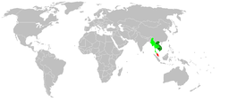 Indochina: Dark green: always included, Light green: usually included, Red: sometimes included.Indochinese Region (biology): Dark and Light green.