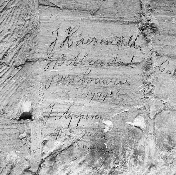 File:Interieur gangenstelsel, detail muur met namen van ovenbouwers - Maastricht - 20322078 - RCE.jpg