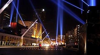 Quartier des spectacles - Place des festivals, at night.