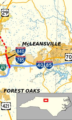 Interstate 785 - Image: Interstate 785 Map