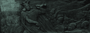 Doina (Eminescu) - Stephen with his horn and the Moldavian military forces, Ion Schmidt-Faur's relief at the base of Eminescu's statue (1929). With empty discolored slot left by the removal of Doina quotation