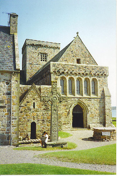 Iona Abbey in Scotland was founded by Saint Columba. Iona Abbey, Entrance and St John's Cross. - geograph.org.uk - 113441.jpg
