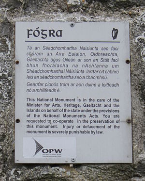 National monuments of Ireland - A typical notice (or fógra in Irish) at a National Monument. (Note that the current minister responsible is the Minister for Arts, Heritage, Regional, Rural and Gaeltacht Affairs)