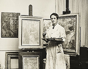 Isabel Bishop - Isabel Bishop in her studio