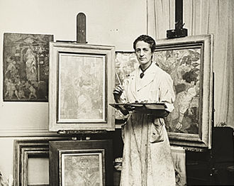 Isabel Bishop - Isabel Bishop in her studio