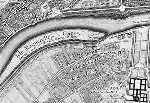 """Dépôt des marbres - """"Isle Maquerelle ou des Cignes"""", linked to the rive gauche by the """"pont rouge"""" - Roussel's map of Paris, 1731"""