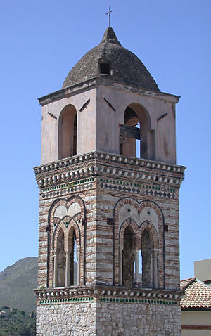 Itri - The bell tower of the destroyed church of Santa Maria Maggiore.