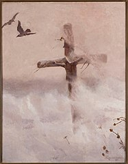 Cross in a blizzard.