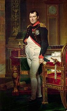 Retrato de Napoleão em seus quarenta anos, no uniforme azul ranking elevado-branco e escuro vestido de militar.  Na imagem original Ele fica em meio a rica carregado de móveis do século 18, com papéis, e olha para o espectador.  Seu cabelo é estilo Brutus, cortado rente, mas com uma franja curta na frente, e sua mão direita é dobrado em seu colete.