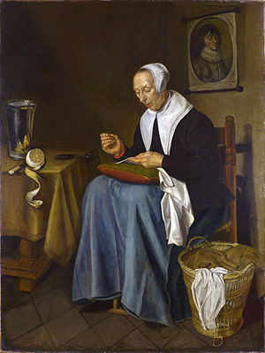 Johannes van der Aeck - An Old Woman sewing, 1655