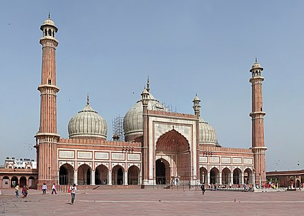 The Jama Masjid in Delhi is India's largest mosque, and a classic example of the Mughal style of architecture