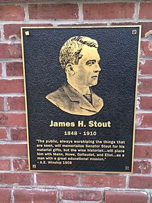 A black and gold plaque of James Stout that says how he'll always be remembered.