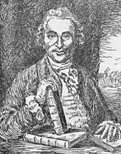 Waist high portrait drawn in pen and ink of a man balancing three books