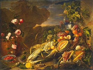 Fruit and a Vase of Flowers