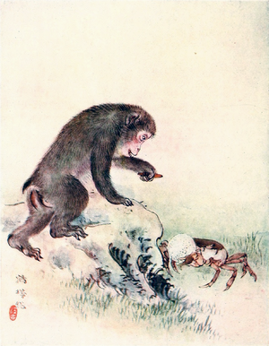 The Crab and the Monkey - The monkey proposes the exchange of the persimmon seed for the crab's rice ball.