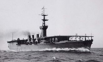 Japanese aircraft carrier Hōshō - Hōshō conducts full power trials near Tateyama, Japan on 4 December 1922.