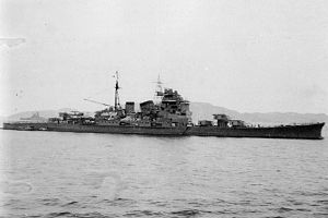 Japanese cruiser Chōkai - Chōkai at anchor in the Chuuk Islands, November 20, 1942. Battleship ''Yamato'' can be seen in the left background.